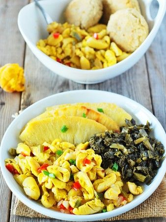 Enjoy vegan ackee, this amazing fruit reminds me of scrambled eggs. Its yummy served at breakfast, lunch or for dinner.
