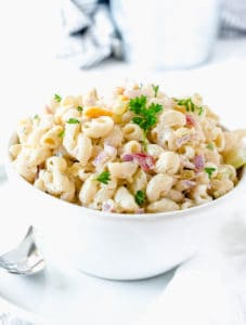 Macaroni Salad in a white bowl
