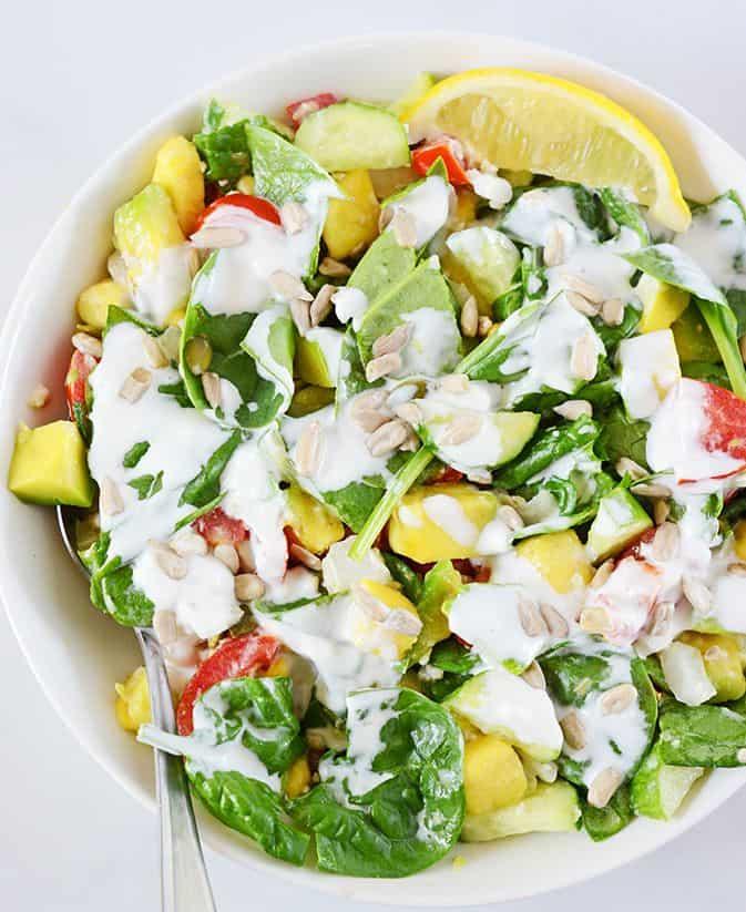 Spinach Salad with Creamy Sunflower Seed Dressing ( Vegan, Gluten-Free, Raw)