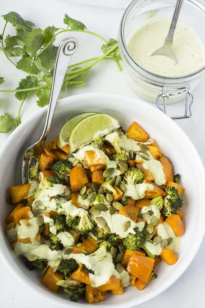 Sweet potato broccoli salad is the perfect fall side dish. Its super easy to prepare, full of flavor and will had a festive touch to your dinner table.