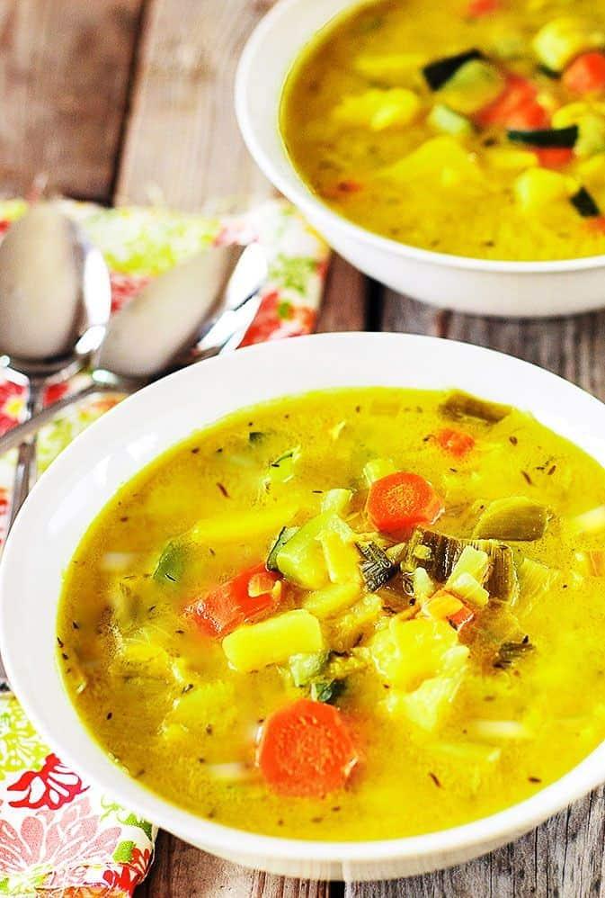 Potato Leek, Carrot and Zucchini Soup (Vegan)