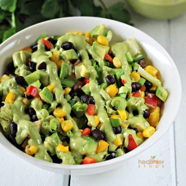 Black Bean Salad with Creamy Avocado Cilantro Dressing | Healthier ...