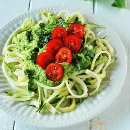 Zucchini Pasta with Avocado Dressing