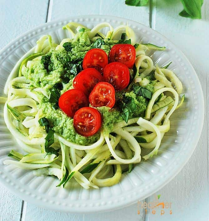 zucchini pasta with avocado dressing healthier steps. Black Bedroom Furniture Sets. Home Design Ideas