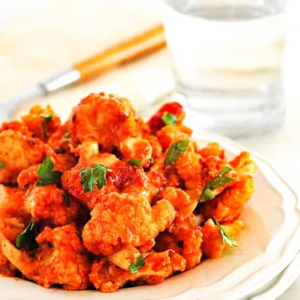 Roasted Cauliflower in Spicy Marinara Sauce