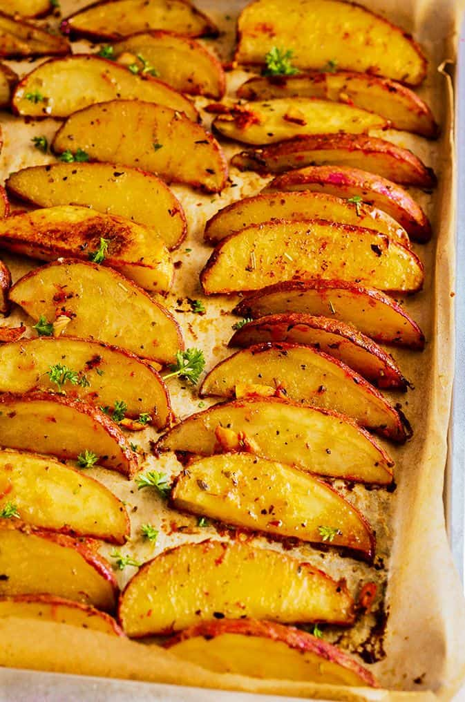 Oven Baked Potato Wedges Healthier Steps