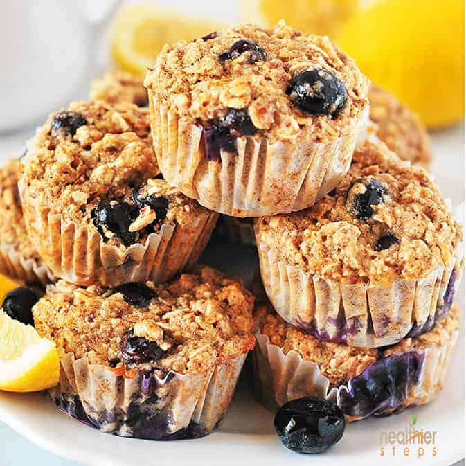 Healthy Blueberry Lemon Muffins