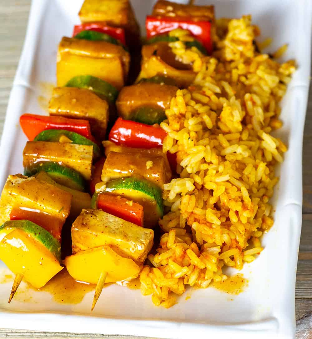 Citrus Tofu Kebab With Rice