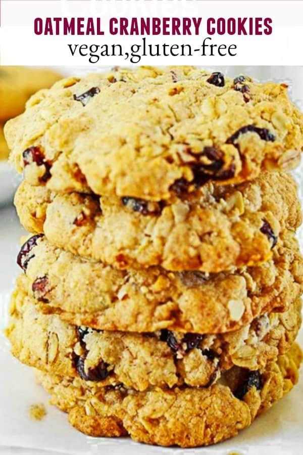 Gluten-Free Vegan Oatmeal Cranberry Cookies
