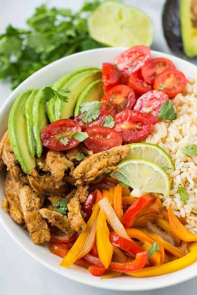 Vegan Fajita Rice Bowl