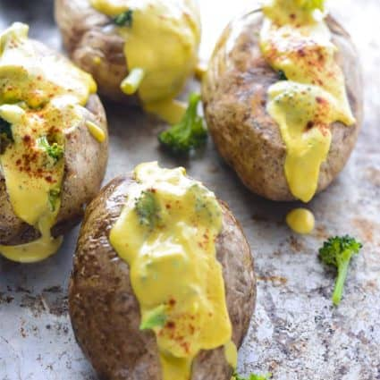 Vegan Broccoli Cheese Baked Potatoes