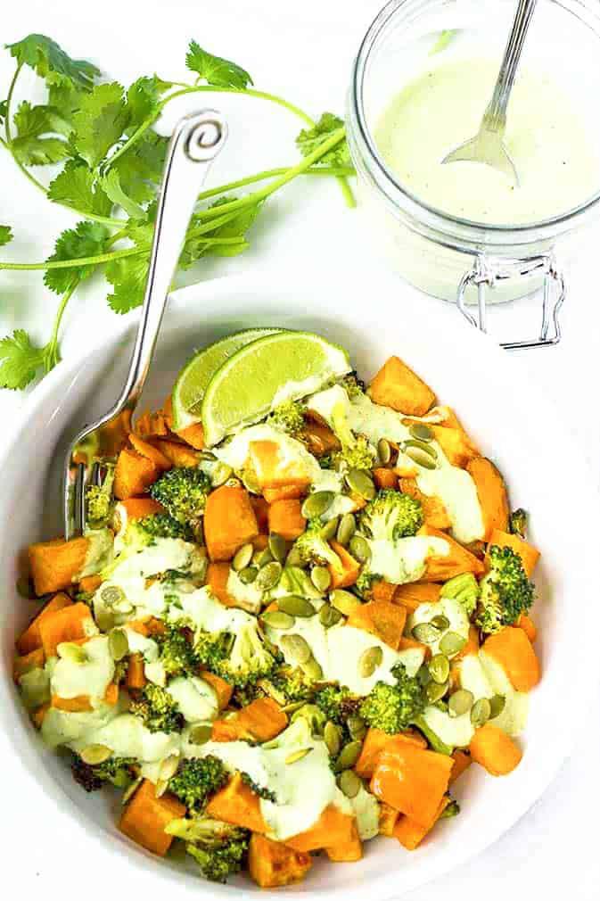 Roasted Sweet Potato Broccoli Salad