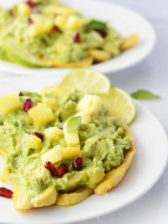 Pineapple Guacamole Baked Plantains