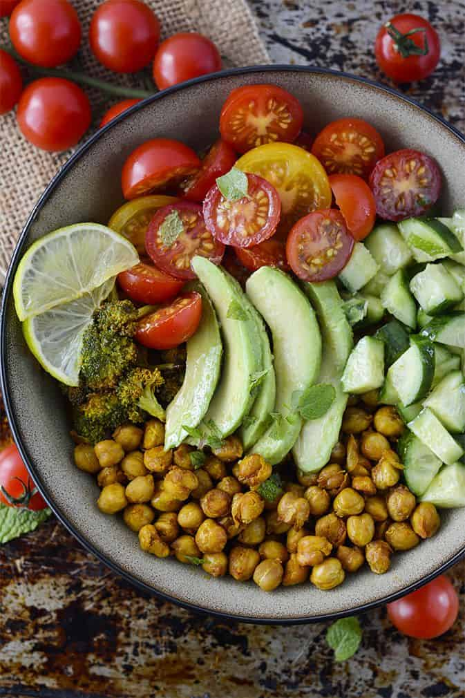 Turmeric Chickpea Salad With Mint Dressing