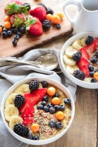 Quinoa breakfast bowl in white bowl top