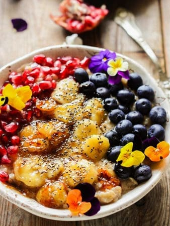 Caramelized Banana Oatmeal with Pomegranate and Blueberries