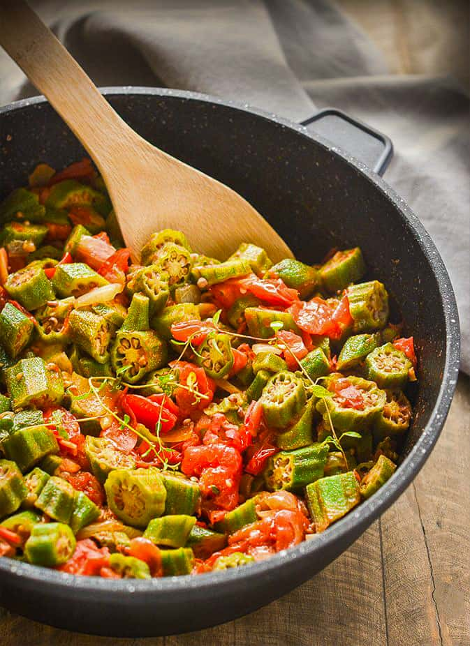 Vegan Stewed Okras And Tomatoes Healthier Steps