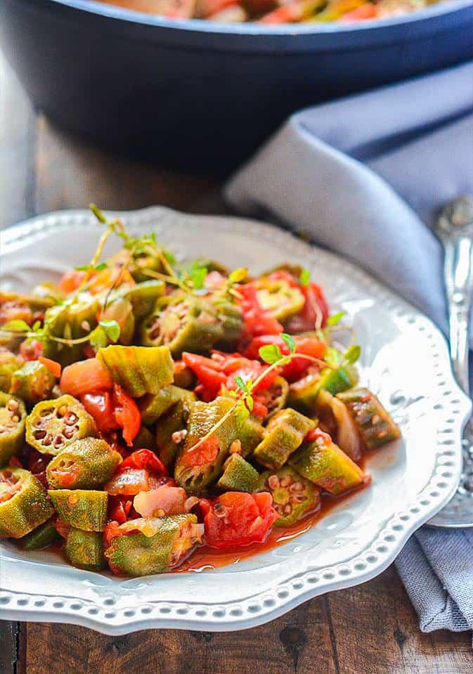 Vegan Stewed Okras and Tomatoes