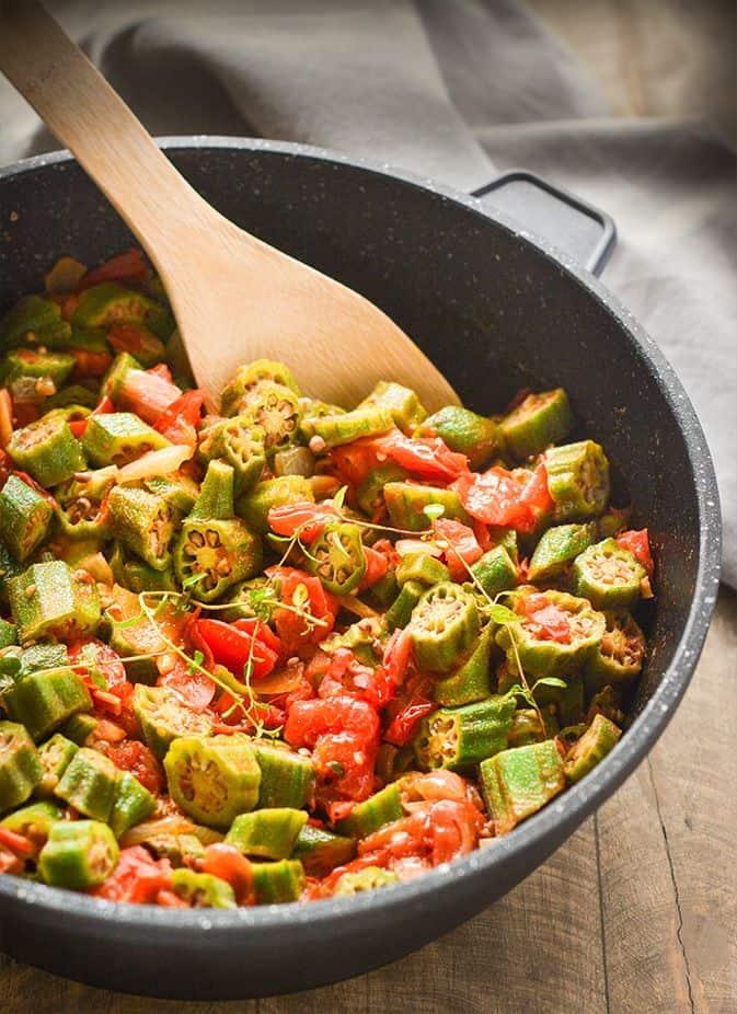 Vegan Okras And Stewed Tomatoes