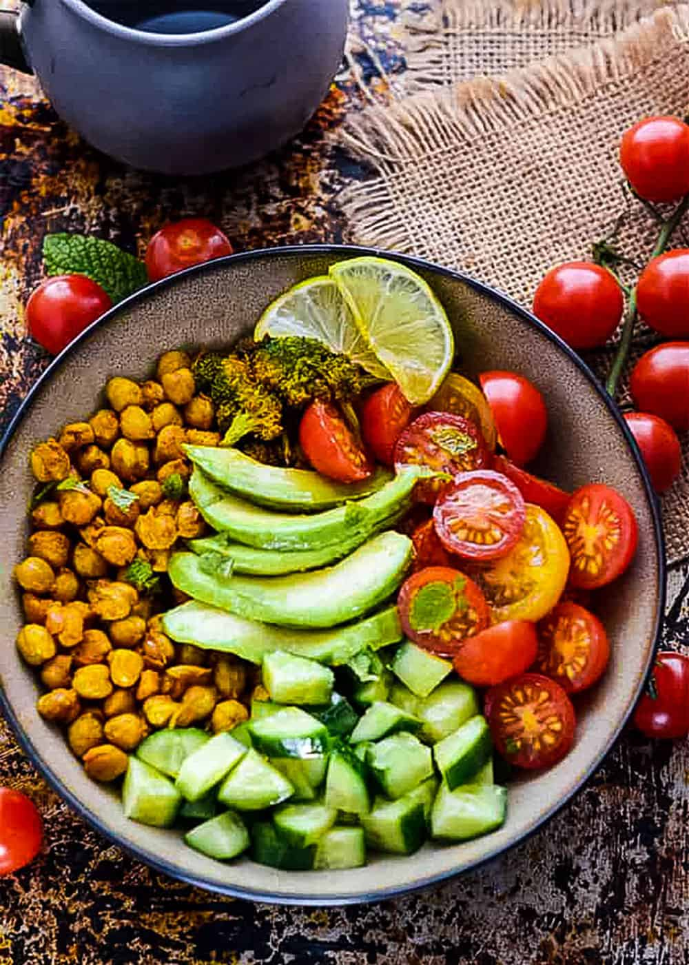 Turmeric Chickpea Salad With Mint Dressing Overlay