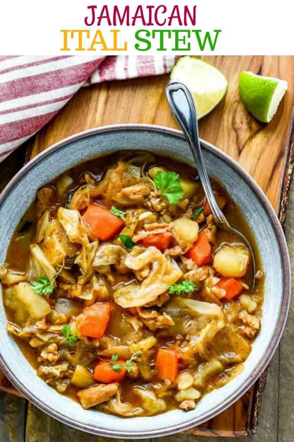 Ital Stew in a bowl, overhead shot, vegan, gluten-free