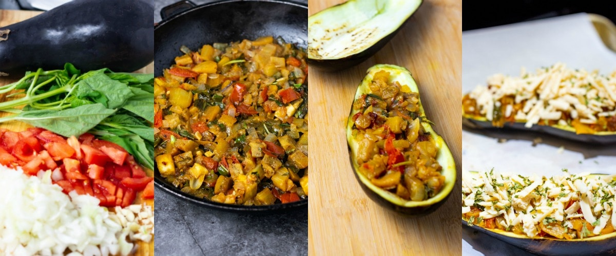 Step by step images of vegan stuffed eggplant, from sauteing ingrediets to stuffing eggplant