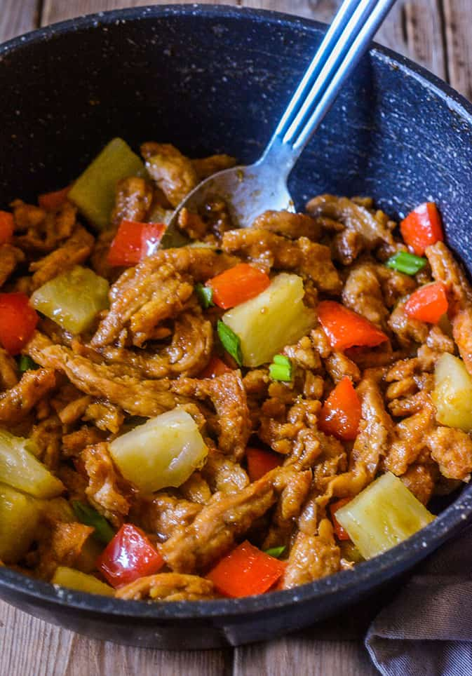 Teriyaki Soy Curls With Pineapple and Sweet Peppers