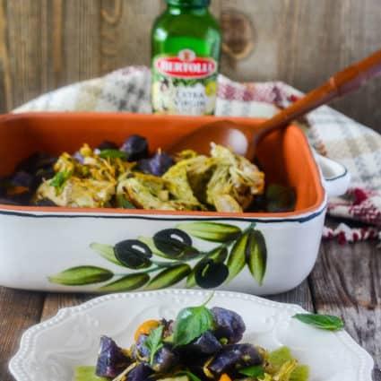 Roasted Sweet Potatoes, Jackfruit with Basil Pesto