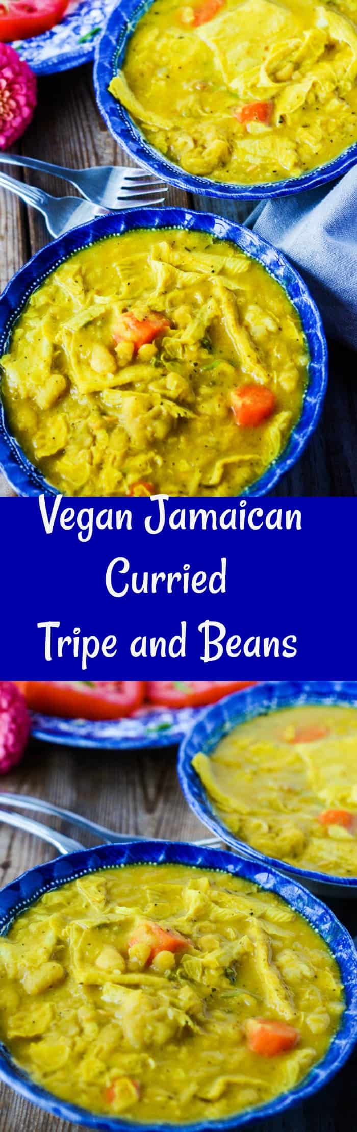 Vegan Jamaican Curried Tripe and Beans