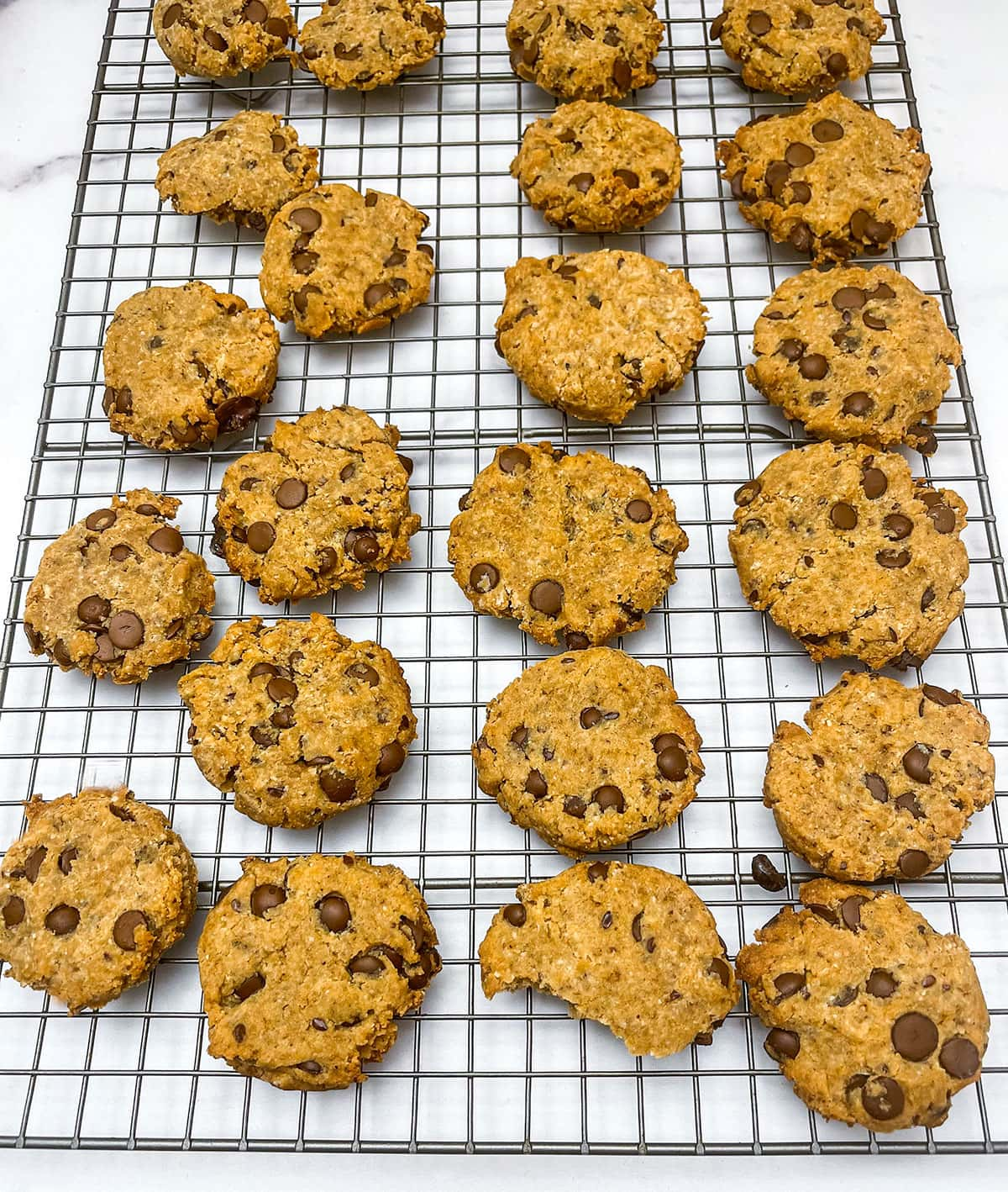 chocolate chips cooks on cooling rack