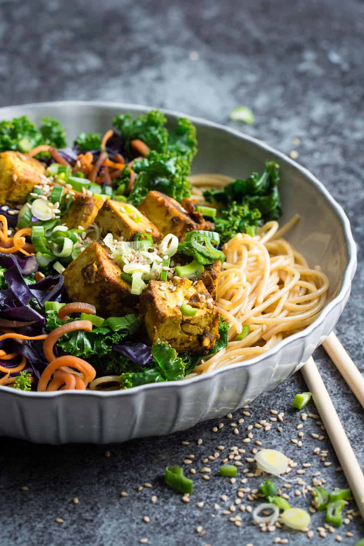 Kale Stir Fry with Crispy Curried Tofu