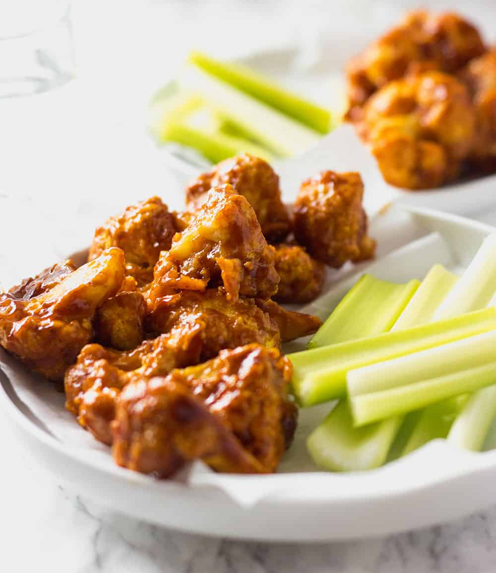 BBQ Cauliflower Wings on a white plate