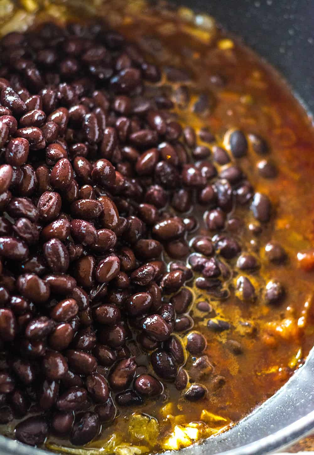 Black Bean Tacos, beans being cooked in spices