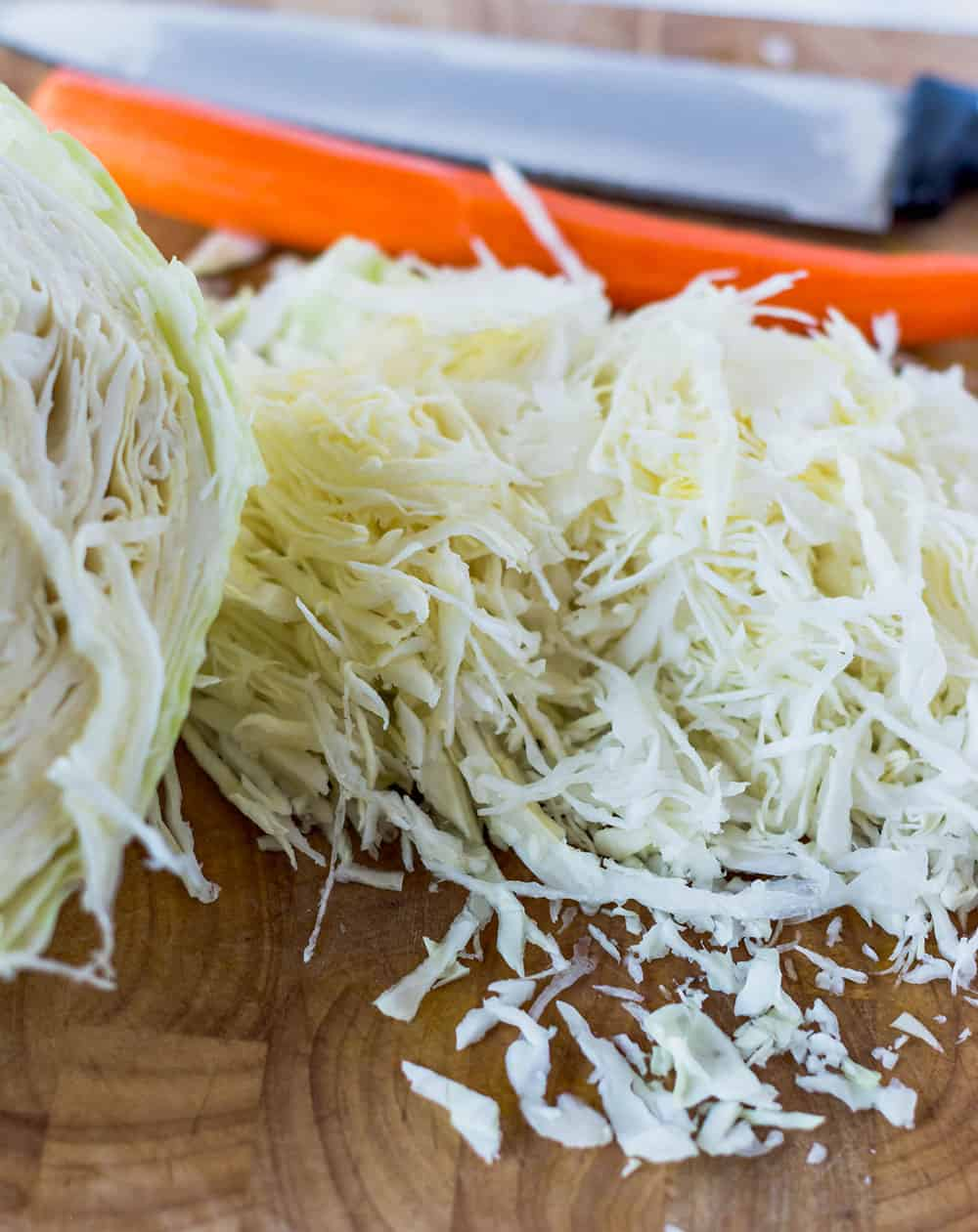 Cabbage and Carrots being chopped