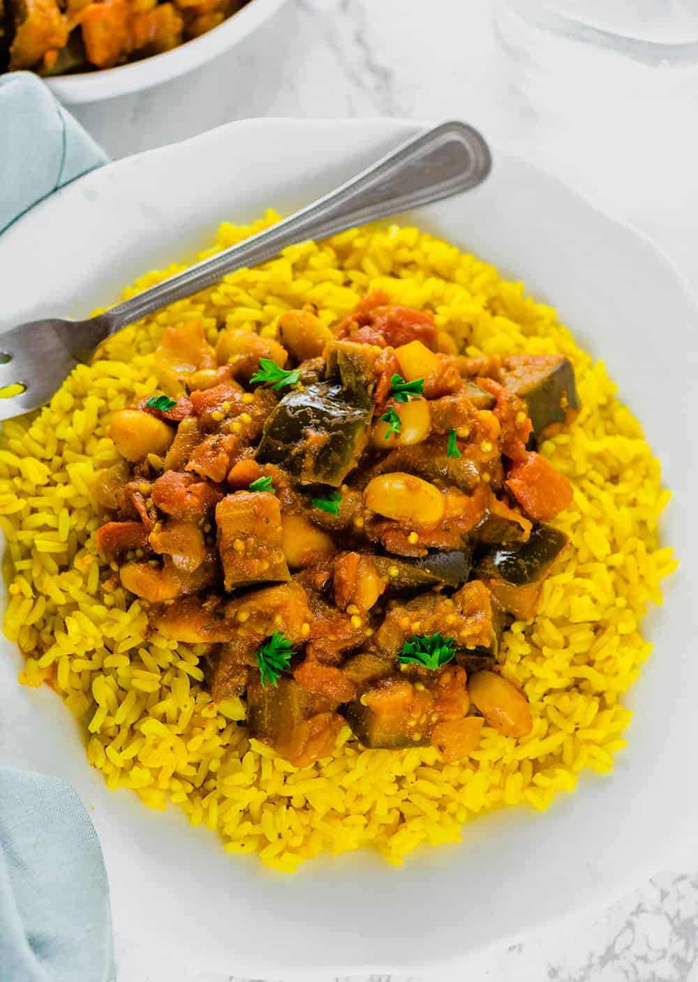 Eggplant Stew Recipe With Lima Beans Served over Turmeric Coconut Rice
