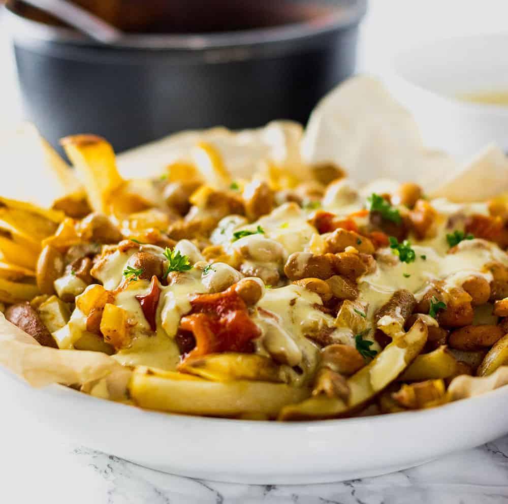 Vegan Pinto Bean Chili Cheese Fries