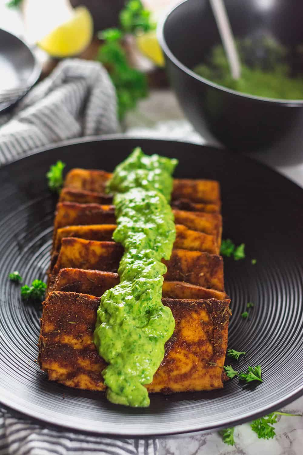 Tofu Steaks With Avocado Chimichurri