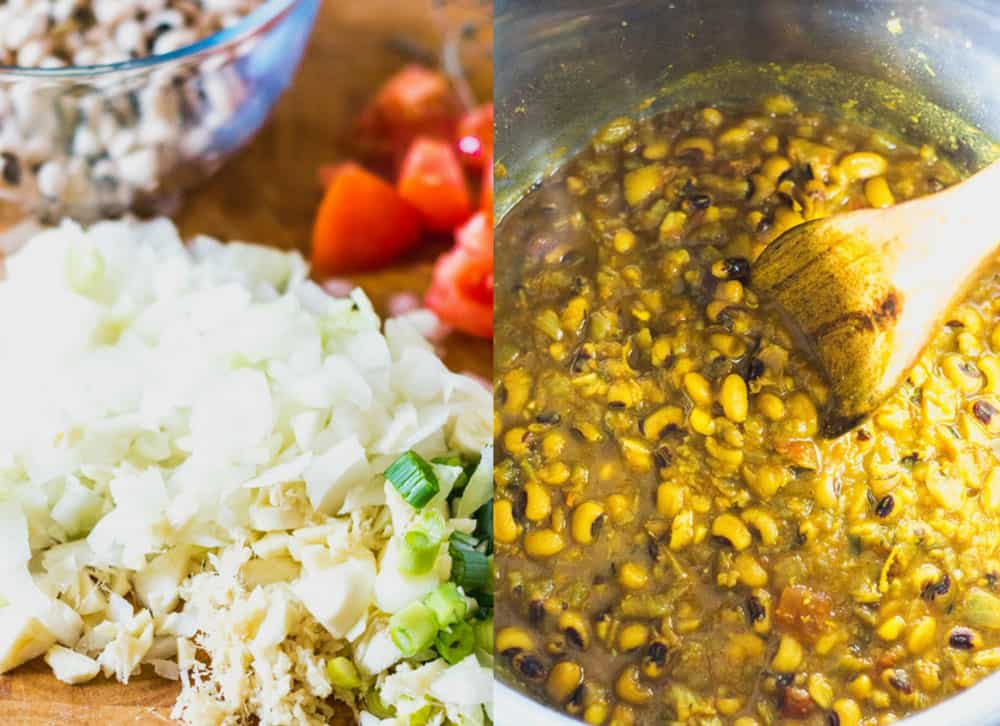 Black Eyed Peas Curry Recipe (Instant Pot Version) Ingredients and step by step photos