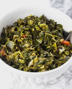 Jamaican Callaloo in a white bowl