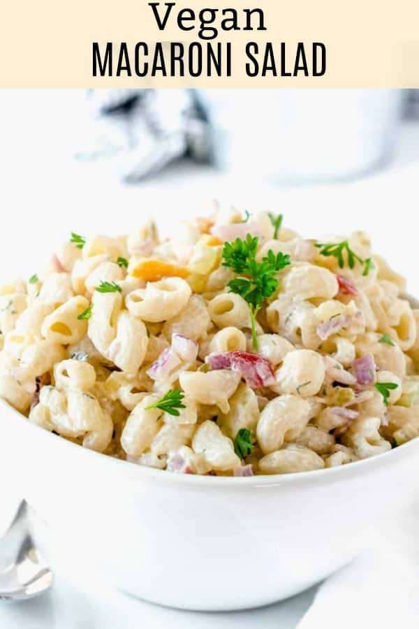 Vegan Macaroni Salad in a white bowl