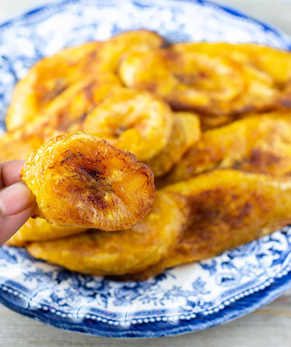 baked plantains close up