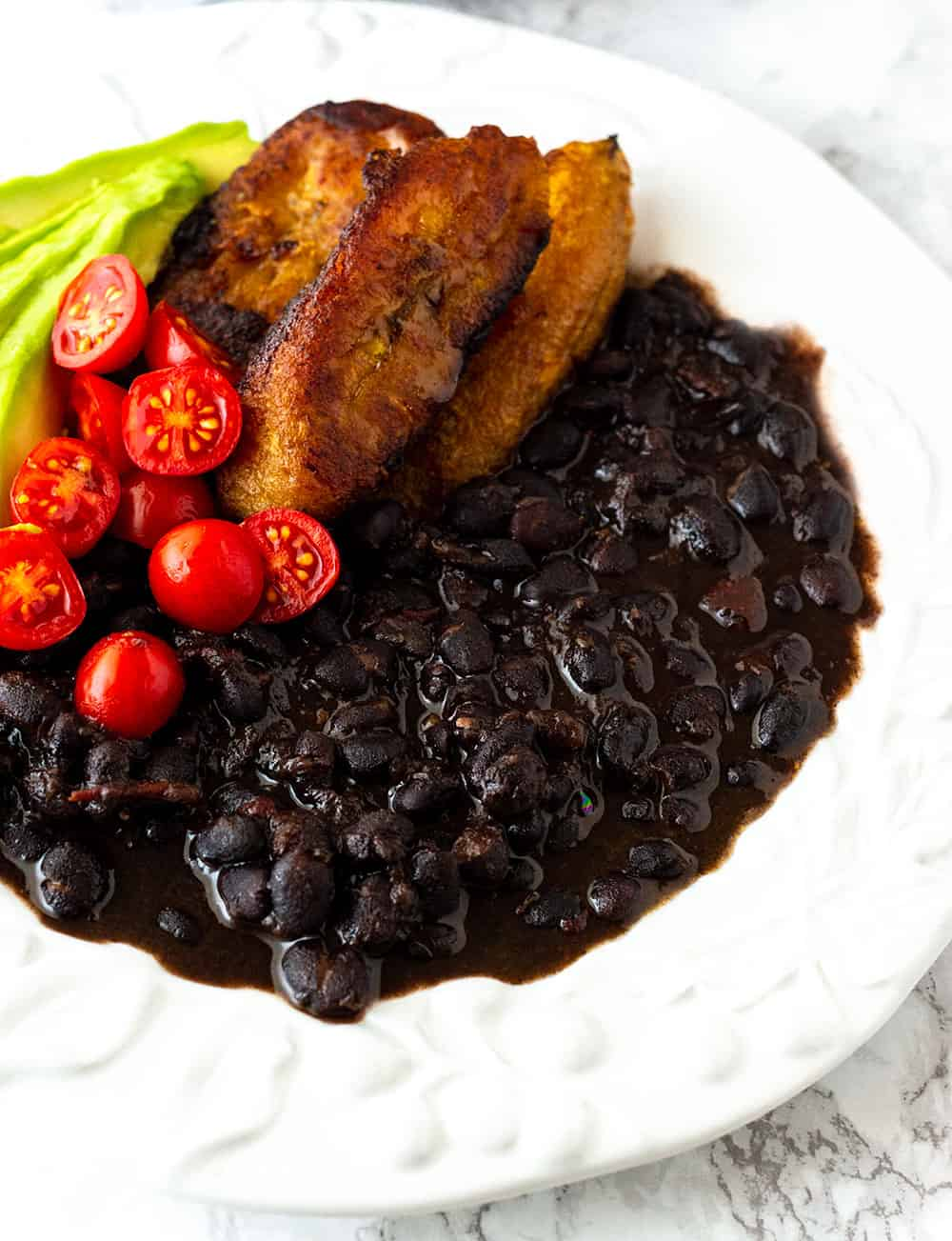Instant Pot Black Beans Served With Plantains Avocado and Tomatoes