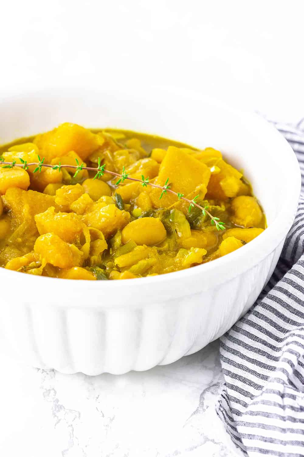 Pumpkin Curry With Butter Beans In A Bowl