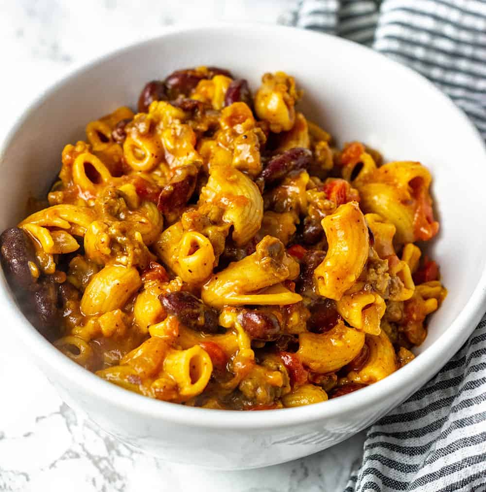 Instant Pot Chili Mac And Cheese in a white bowl