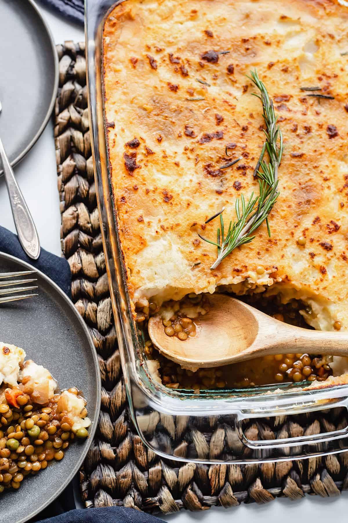 vegan shepherd's pie in a casserole dish