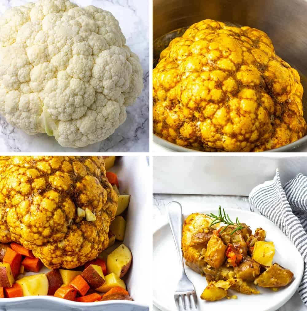 Whole Roasted Cauliflower Step by B=Step