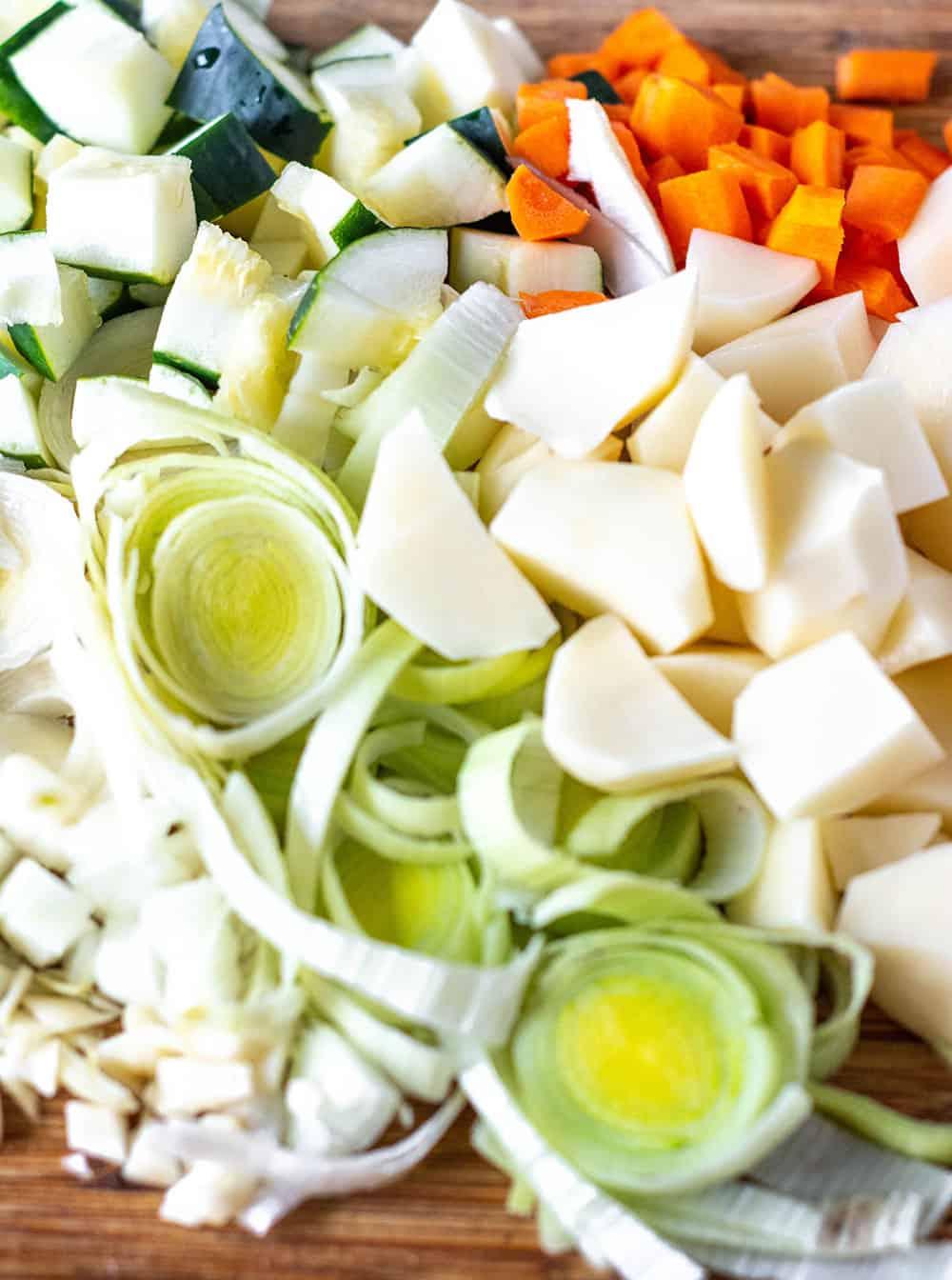 Vegan Potato Leek, Carrot and Zucchini Soup