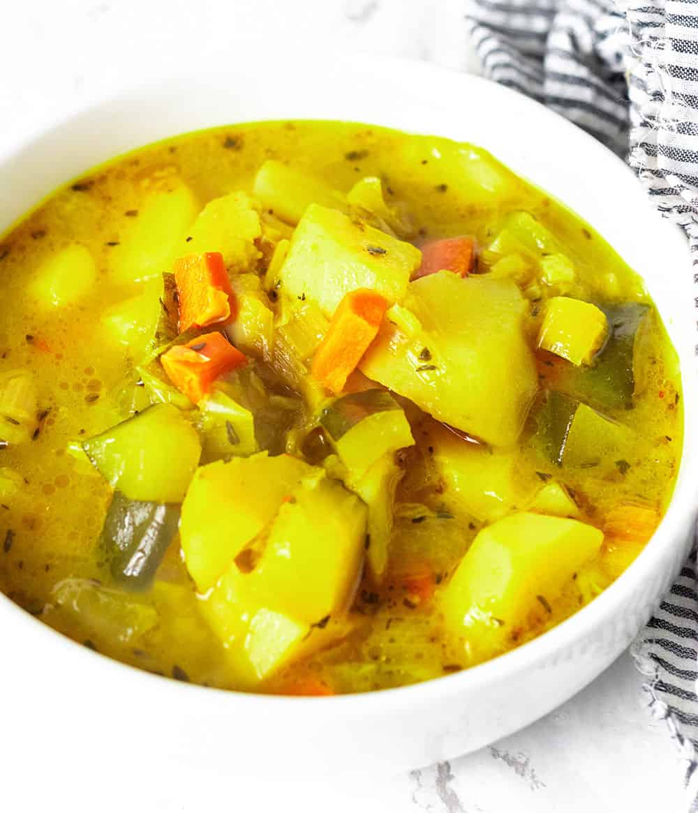 Vegan Potato Leek Carrot and Zucchini Soup
