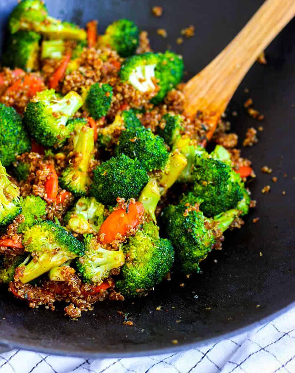 Simple Vegan Quinoa Fried Rice in a wok