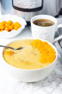 Instant Pot Cornmeal porridge in a white bowl